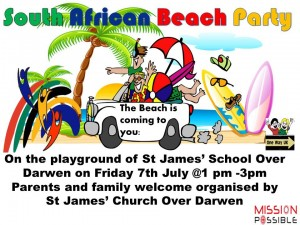south african themed beach party at st james school over darwen